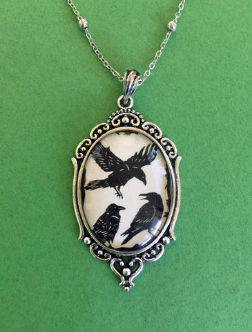 A CONSPIRACY of RAVENS Necklace, pendant on chain - Silhouette Jewelry