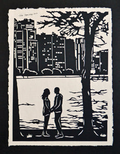 Hand-Cut Papercut Art - A MOMENT ALONG the LAKE - Couple at the Lake Silhouette