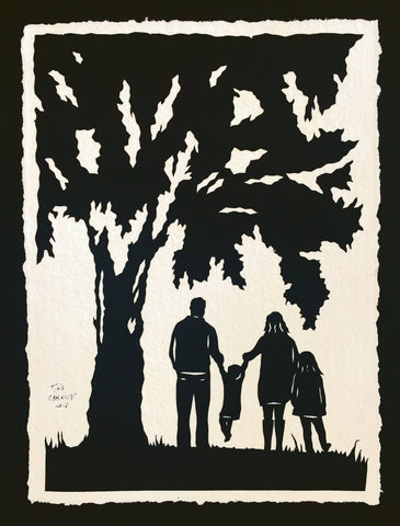 A DAY in the PARK Papercut - Hand-Cut Silhouette