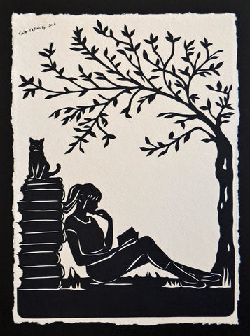 AFTERNOON READING in the PARK Papercut - Hand-Cut Silhouette