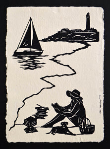 AFTERNOON READING on the BEACH - Hand-Cut Papercut Art - Girl Reading Silhouette