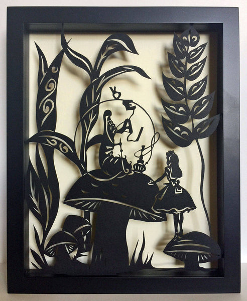 ALICE'S ADVENTURES in WONDERLAND - Advice from a Caterpillar, Hand-Cut Papercut in Shadow Box, Framed