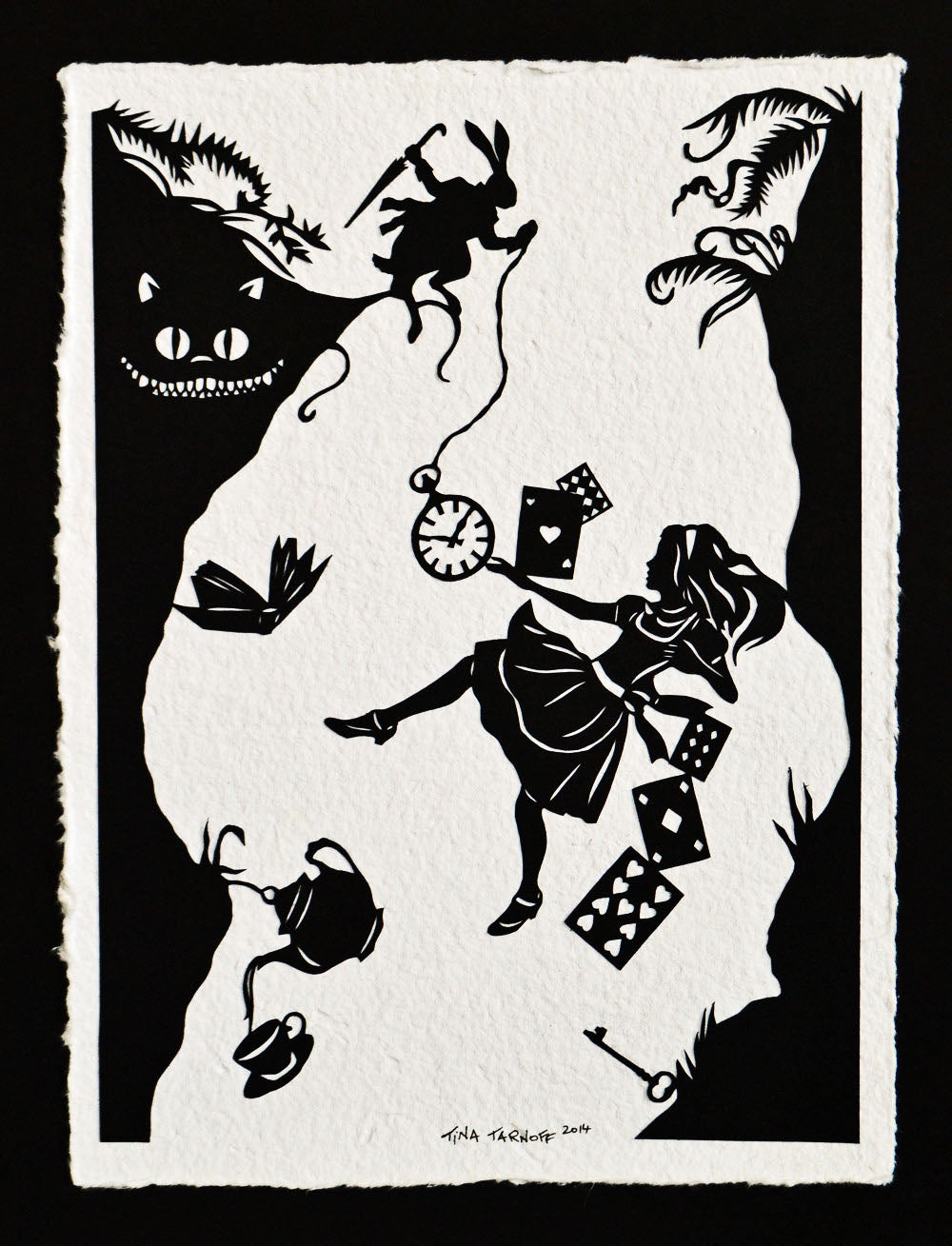 ALICE IN WONDERLAND Papercut - Down the Rabbit Hole - Hand-Cut Silhouette