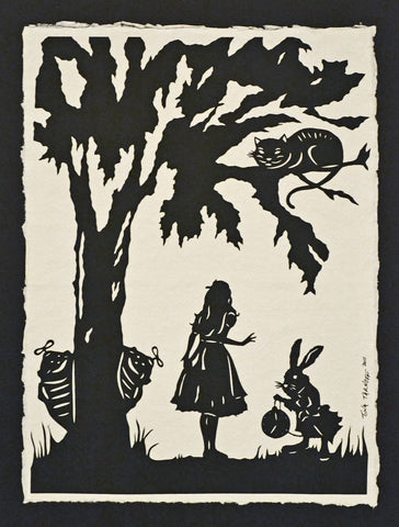ALICE IN WONDERLAND Papercut - Hand-Cut Silhouette