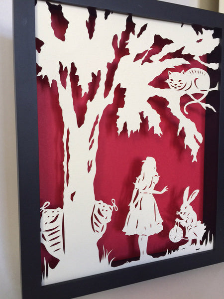 ALICE in WONDERLAND Papercut in Shadow Box, Framed - Hand-Cut Silhouette