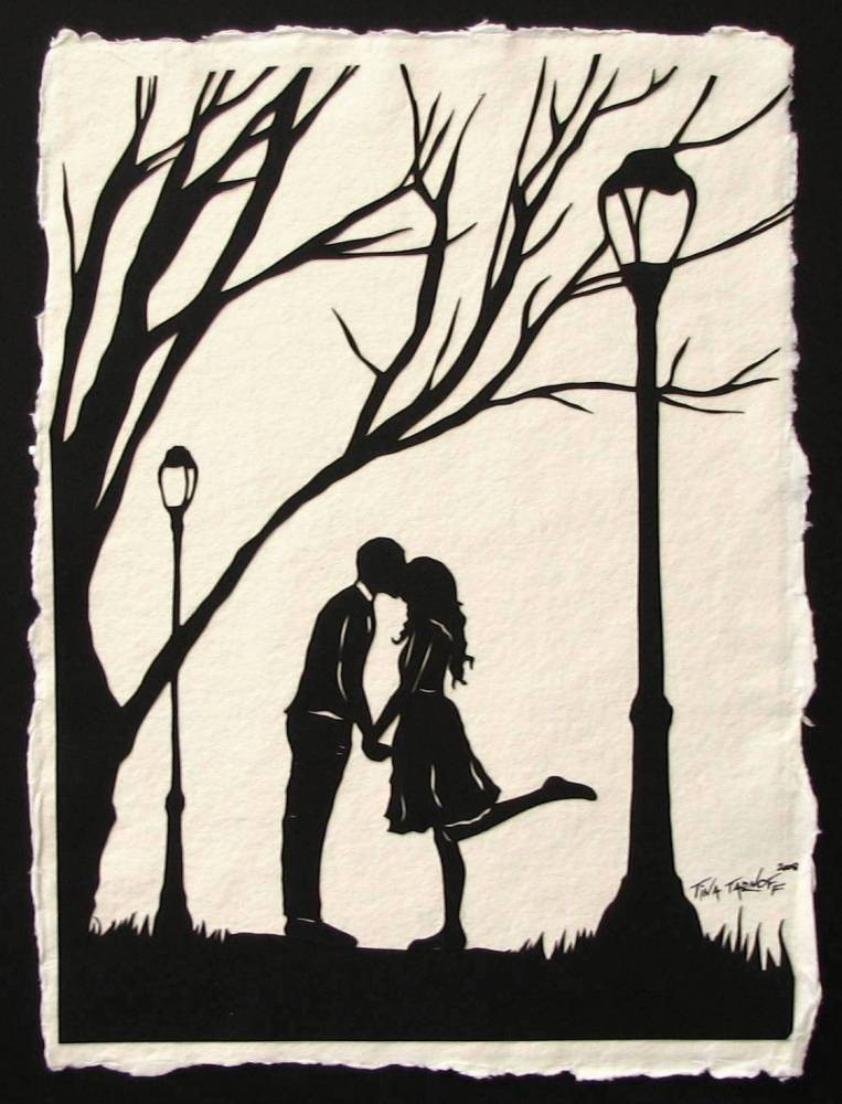 AUTUMN KISS Papercut - Hand-Cut Silhouette - Kissing Couple