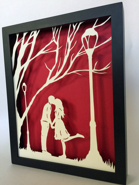 AUTUMN KISS Papercut in Shadow Box - Hand-Cut Silhouette, Framed
