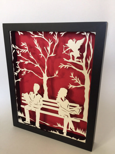 DIVINE INTERVENTION Papercut in Shadow Box - Hand-Cut Silhouette, Framed
