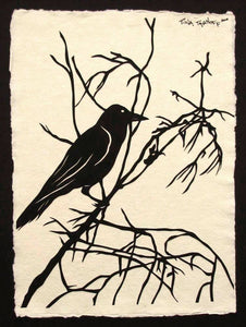 Hand-Cut Papercut Art - Crow Silhouette - FOR the LOVE of CROWS