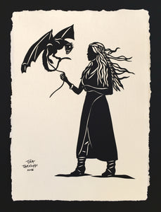GAME OF THRONES - KHALEESI Papercut - Hand-Cut Silhouette Papercut