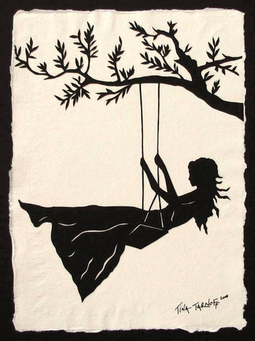 GIRL ON A SWING Papercut - Hand-Cut Silhouette