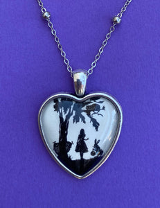 ALICE IN WONDERLAND Heart Necklace - pendant on chain - Silhouette Jewelry