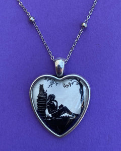 AFTERNOON READING in the PARK Heart Necklace, pendant on chain - Silhouette Jewelry
