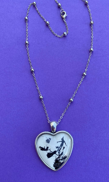 PETER PAN Heart Necklace, pendant on chain - Silhouette Jewelry