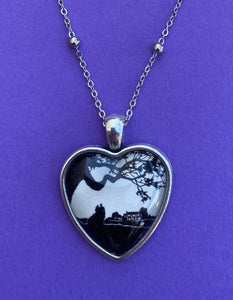 GONE WITH the WIND Heart Necklace - pendant on chain - Silhouette Jewelry