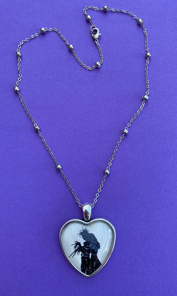 EDWARD SCISSORHANDS Heart Necklace, pendant on chain - Silhouette Jewelry