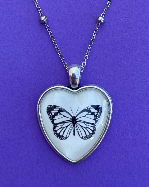 BUTTERFLY Heart Necklace, pendant on chain - Silhouette Jewelry