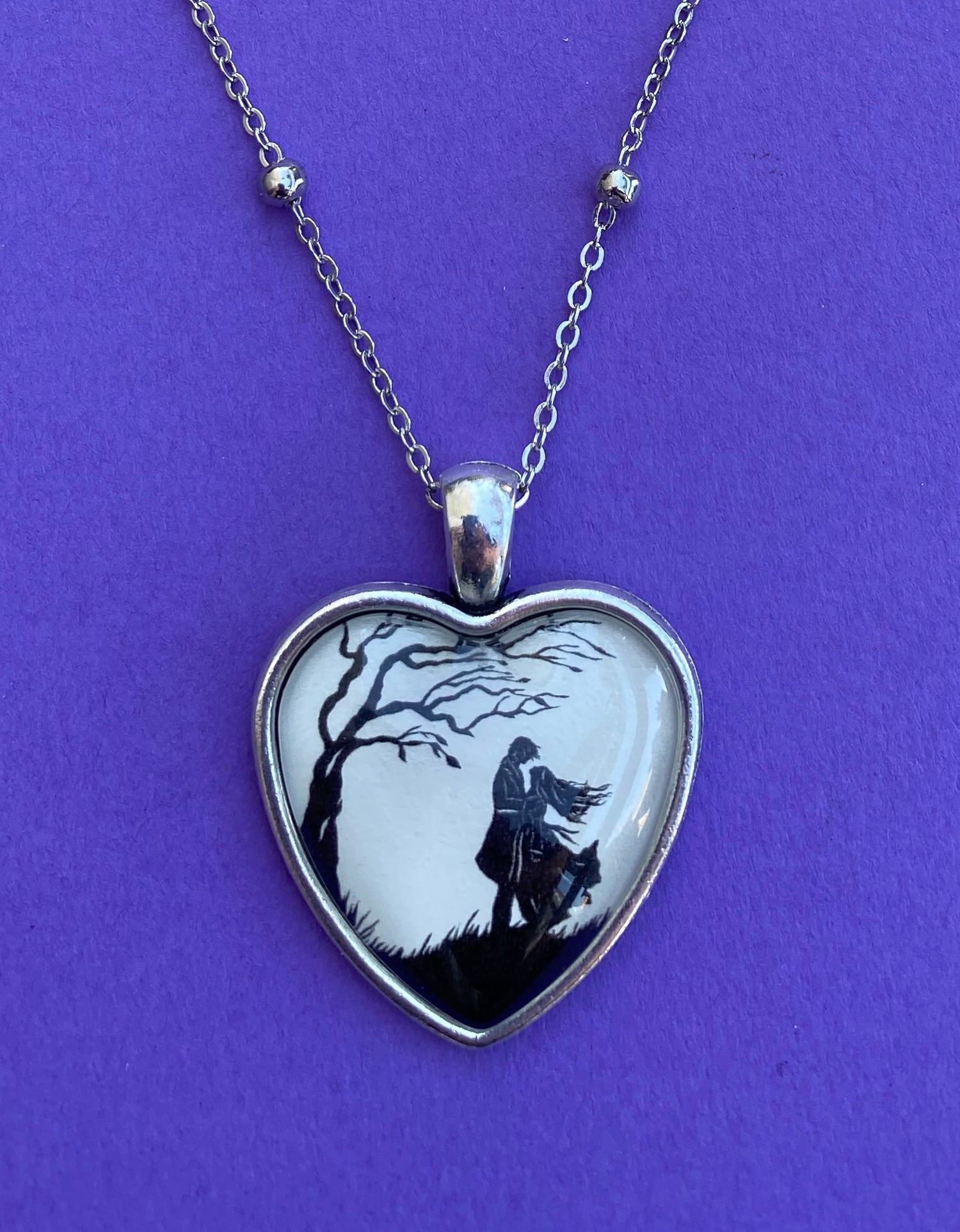 WUTHERING HEIGHTS Heart Necklace, pendant on chain - Silhouette Jewelry