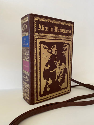 ALICE in WONDERLAND Book Clutch Crossbody Handbag - Maroon