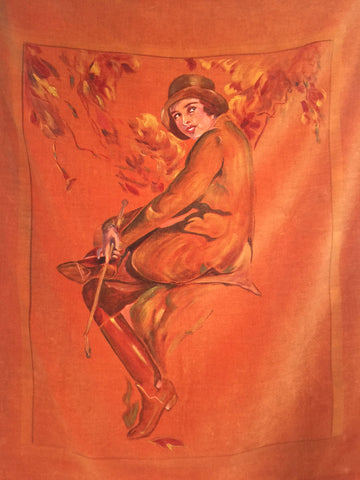 Vintage 1920s Hand-Painted Portrait on Velvet Autumn Equestrienne