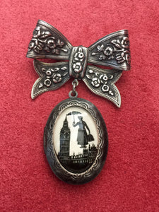 MARY POPPINS Brooch - locket pendant on bow pin - Silhouette Jewelry