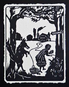 LITTLE RED RIDING Hood Papercut - Hand-Cut Silhouette