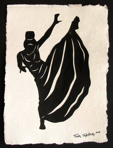 MARTHA GRAHAM - Hand-Cut Papercut Art - Modern Dance Silhouette