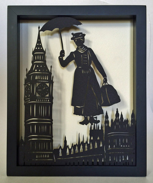 MARY POPPINS Papercut in Shadow Box - Hand-Cut Silhouette, Framed