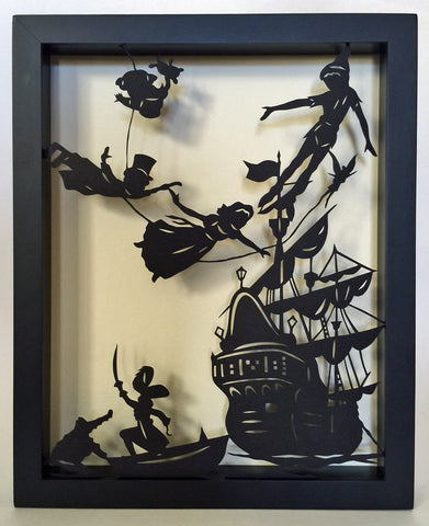 PETER PAN Papercut in Shadow Box - Hand-Cut Silhouette, Framed