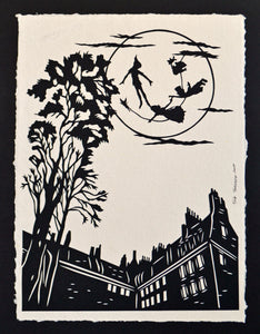 PETER PAN and the MOON Papercut - Hand-Cut Silhouette