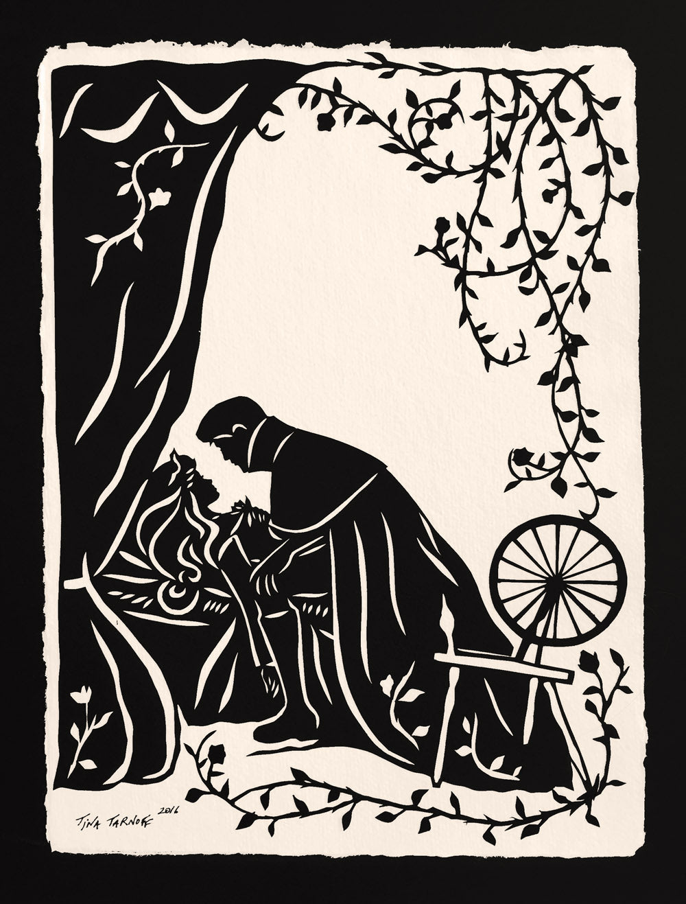 SLEEPING BEAUTY Papercut - Hand-Cut Silhouette