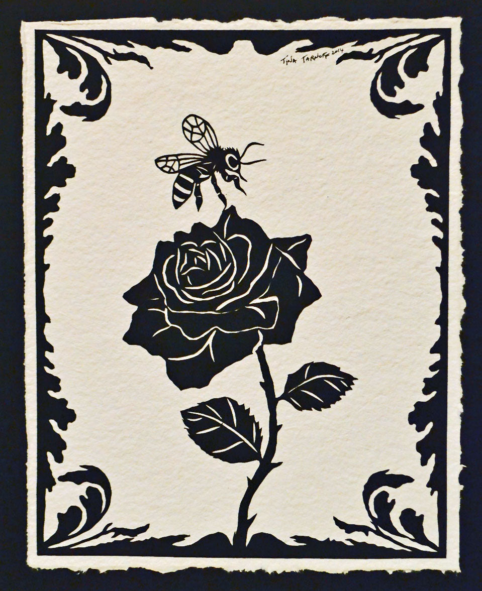 The BEE and The ROSE Papercut - Hand-Cut Silhouette