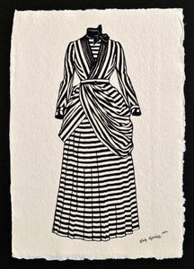 VICTORIAN DRESS Papercut - Hand-Cut Silhouette