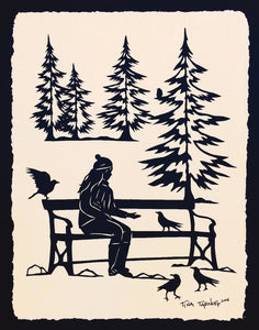 WINTER AFTERNOON Papercut - Hand-Cut Silhouette