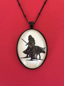 Game of Thrones Jon Snow Necklace - pendant on chain - Silhouette Jewelry