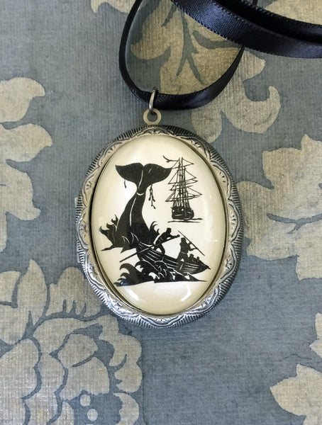 Moby Dick Locket Necklace - locket pendant on ribbon - Silhouette Jewelry
