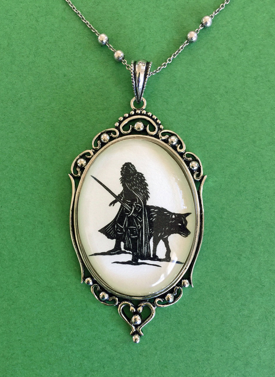 Game of Thrones, Jon Snow Necklace - pendant on chain - Silhouette Jewelry