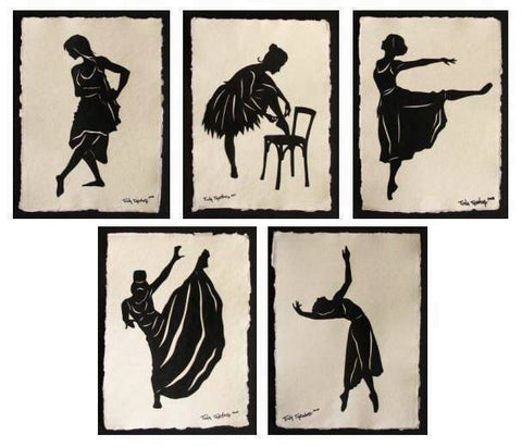 GREAT DANCERS SERIES Papercuts - 5 Hand-Cut Silhouettes