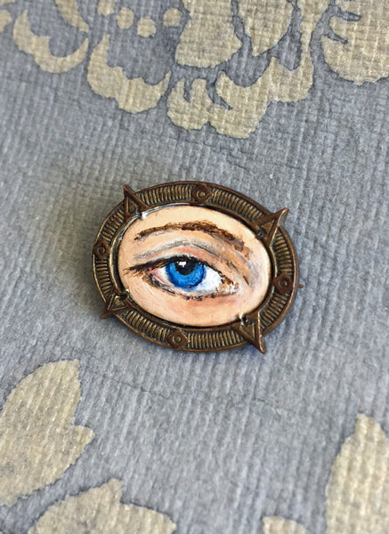 LOVER'S EYE Jewelry, Brooch - original painting by Tina Tarnoff, vintage pin
