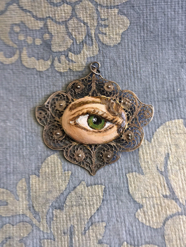 original painting by Tina Tarnoff vintage pin LOVER/'S EYE Jewelry Brooch