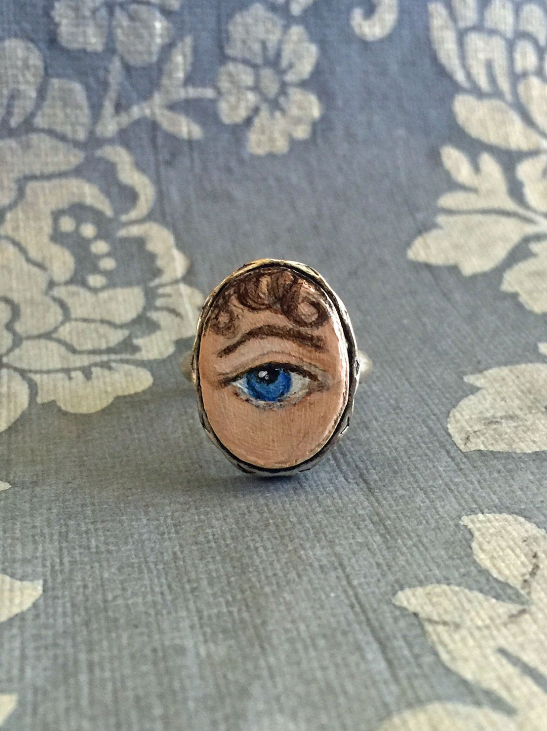 LOVER'S EYE Jewelry, Ring - original painting by Tina Tarnoff, vintage ring