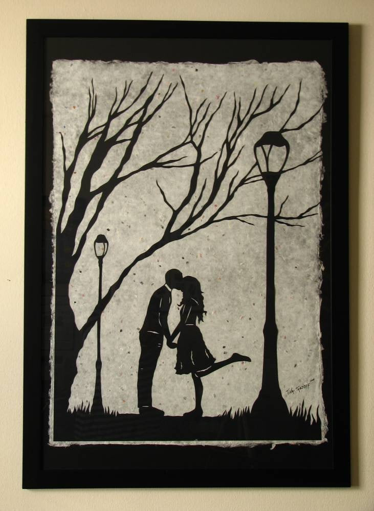 AUTUMN KISS - Large Original Papercut, 27x40, Limited Collectors Edition