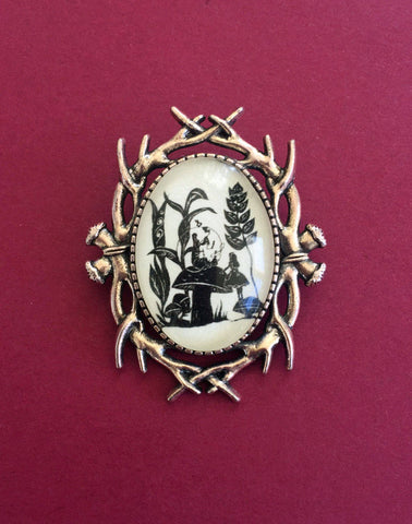 ALICES ADVENTURES in WONDERLAND Brooch - Advice from a Caterpillar - Silhouette Jewelry