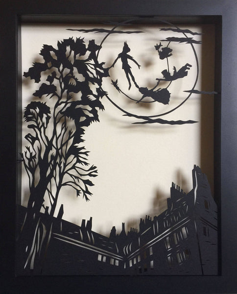 PETER PAN and the MOON Papercut in Shadow Box - Hand-Cut Silhouette, Framed