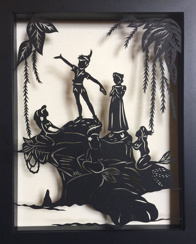 PETER PAN and the MERMAIDS Papercut in Shadow Box - Hand-Cut Silhouette, Framed