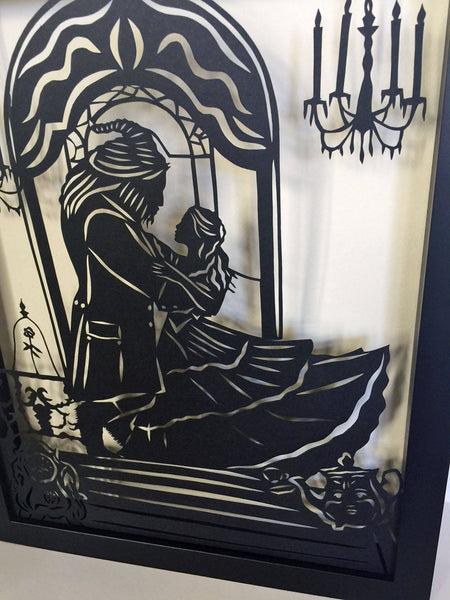 BEAUTY and the BEAST Papercut in Shadow Box, Framed - Hand-Cut Silhouette