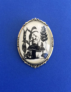 ALICE'S ADVENTURES in WONDERLAND Brooch - Advice from a Caterpillar - Silhouette Jewelry
