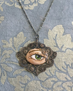 LOVER'S EYE Jewelry, Pendant - original painting by Tina Tarnoff, vintage pendant