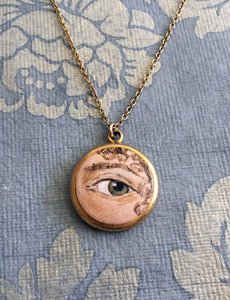 LOVER'S EYE Jewelry, Locket Pendant - original painting by Tina Tarnoff, vintage locket