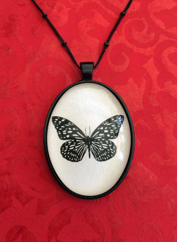 TIGER BUTTERFLY Necklace, pendant on chain - Silhouette Jewelry